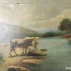 Arte: D3-022. OLEO SOBRE LIENZO. PAISAJE RURAL CON VACAS. FIRMADO J.E. SIGLO XIX.. Lote 44154905