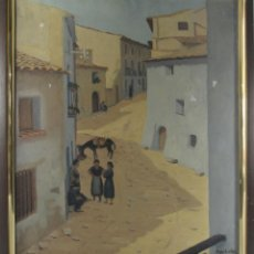 Arte: B4-022. OLEO SOBRE LIENZO. FIRMA ILEGIBLE. CALLE DE PUEBLO. MED S XX.. Lote 44203109