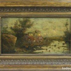 Arte: E2-017 - OLEO/TABLA - PAISAJE CON MASIA - FIRMA ILEGIBLE - SIGLO XIX. Lote 44239409