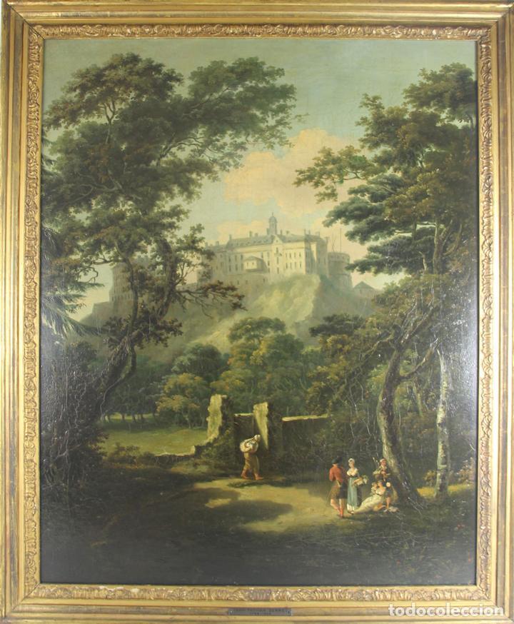 G-571. JOVENES EN EL JARDÍN. OLEO/LIENZO. ATRIBUIDO JOHN THOMAS SERRES. XVIII (Arte - Pintura - Pintura al Óleo Antigua siglo XVIII)