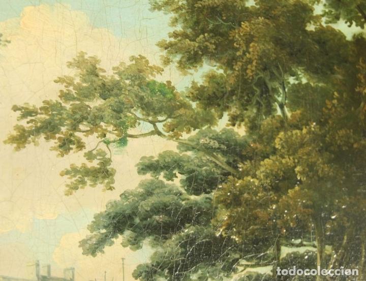 Arte: G-571. JOVENES EN EL JARDÍN. OLEO/LIENZO. ATRIBUIDO JOHN THOMAS SERRES. XVIII - Foto 2 - 45296548