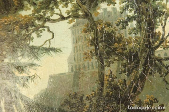 Arte: G-571. JOVENES EN EL JARDÍN. OLEO/LIENZO. ATRIBUIDO JOHN THOMAS SERRES. XVIII - Foto 14 - 45296548