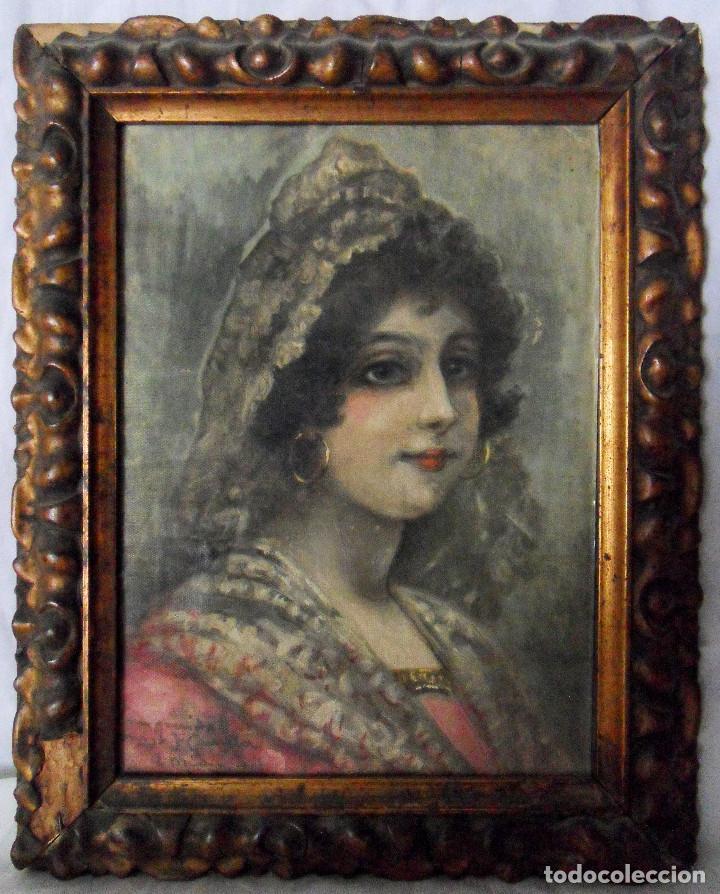 RETRATO FEMENINO. REF. AB.240 (Arte - Pintura - Pintura al Óleo Moderna siglo XIX)
