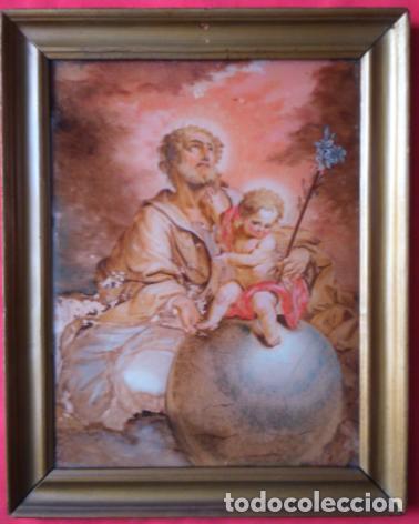 ÓLEO S/CRISTAL ENMARCADO -SAN JOSÉ CON EL NIÑO-. SIGLO XVIII -ESCUELA ITALIANA-. DIM.- 45X36 CMS. (Arte - Pintura - Pintura al Óleo Antigua siglo XVIII)