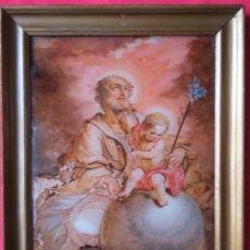 Arte: ÓLEO S/CRISTAL ENMARCADO -SAN JOSÉ CON EL NIÑO-. SIGLO XVIII -ESCUELA ITALIANA-. DIM.- 45X36 CMS.. Lote 64401027