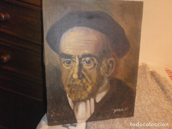 Arte: Pio Baroja retrato oleo sobre lienzo firmado Soria 81 buena pintura medida 35 x 27 cm. - Foto 2 - 64405039