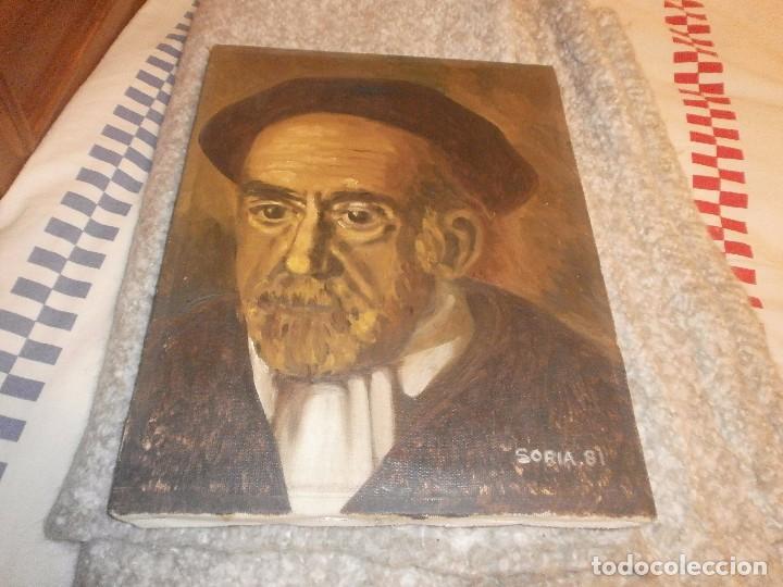 Arte: Pio Baroja retrato oleo sobre lienzo firmado Soria 81 buena pintura medida 35 x 27 cm. - Foto 3 - 64405039