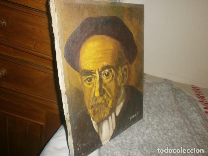 Arte: Pio Baroja retrato oleo sobre lienzo firmado Soria 81 buena pintura medida 35 x 27 cm. - Foto 4 - 64405039