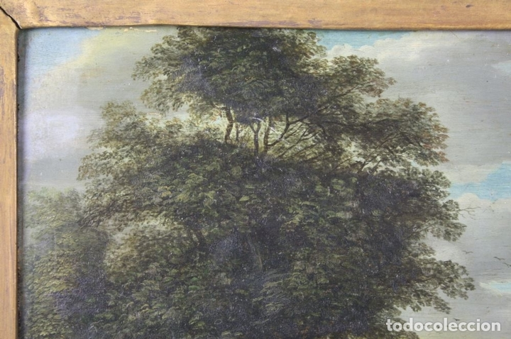 Arte: F2-001. PAISAJE CON FIGURAS. OLEO SOBRE TABLA. ESCUELA HOLANDESA. SIGLO XVII. - Foto 6 - 43069621