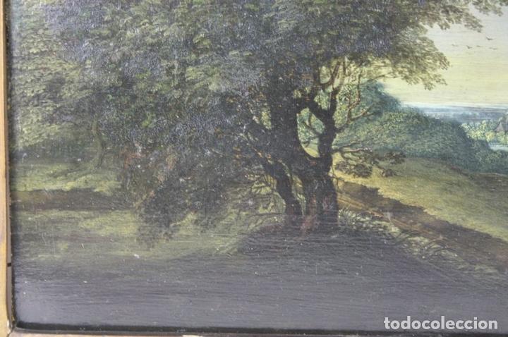 Arte: F2-001. PAISAJE CON FIGURAS. OLEO SOBRE TABLA. ESCUELA HOLANDESA. SIGLO XVII. - Foto 7 - 43069621