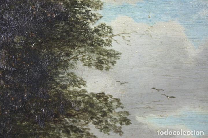 Arte: F2-001. PAISAJE CON FIGURAS. OLEO SOBRE TABLA. ESCUELA HOLANDESA. SIGLO XVII. - Foto 10 - 43069621