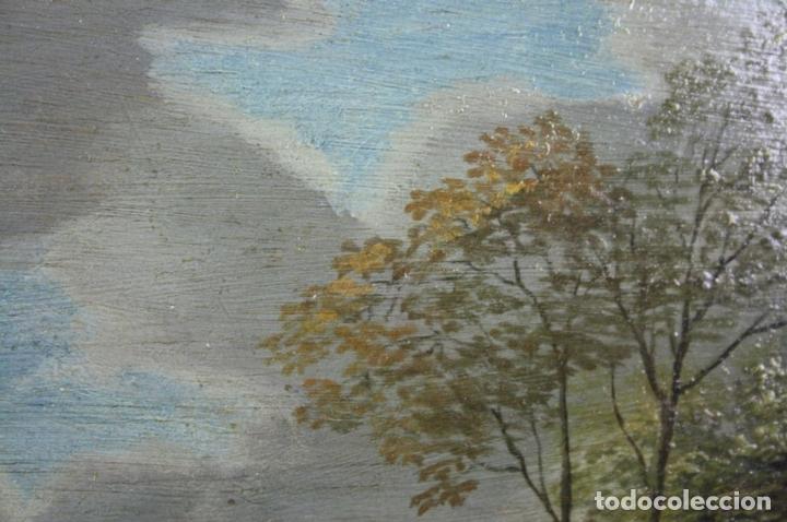 Arte: F2-001. PAISAJE CON FIGURAS. OLEO SOBRE TABLA. ESCUELA HOLANDESA. SIGLO XVII. - Foto 13 - 43069621