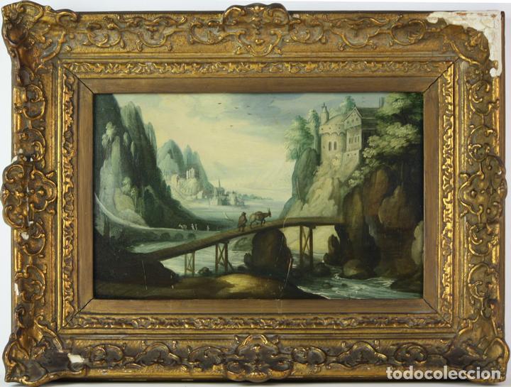 F2-002 PAISAJE CON CASTILLO. OLEO SOBRE TABLA. ESCUELA HOLANDESA. SIGLO XVII-XVIII (Arte - Pintura - Pintura al Óleo Antigua siglo XVIII)