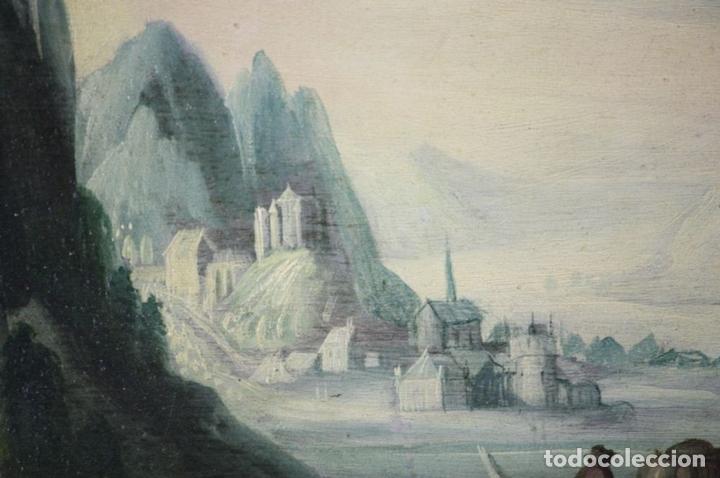 Arte: F2-002 PAISAJE CON CASTILLO. OLEO SOBRE TABLA. ESCUELA HOLANDESA. SIGLO XVII-XVIII - Foto 3 - 43067812