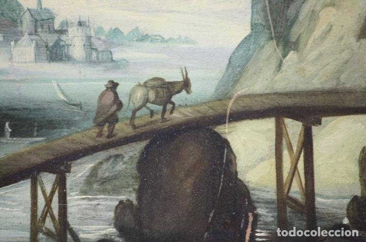 Arte: F2-002 PAISAJE CON CASTILLO. OLEO SOBRE TABLA. ESCUELA HOLANDESA. SIGLO XVII-XVIII - Foto 4 - 43067812