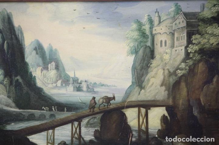 Arte: F2-002 PAISAJE CON CASTILLO. OLEO SOBRE TABLA. ESCUELA HOLANDESA. SIGLO XVII-XVIII - Foto 5 - 43067812
