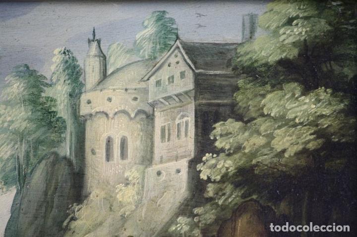 Arte: F2-002 PAISAJE CON CASTILLO. OLEO SOBRE TABLA. ESCUELA HOLANDESA. SIGLO XVII-XVIII - Foto 6 - 43067812