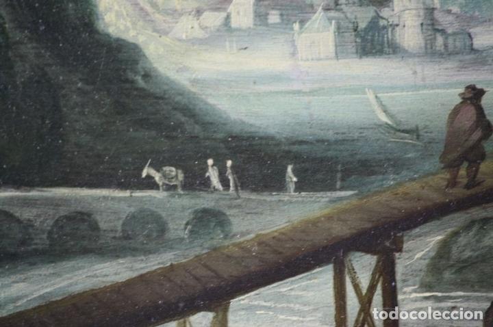 Arte: F2-002 PAISAJE CON CASTILLO. OLEO SOBRE TABLA. ESCUELA HOLANDESA. SIGLO XVII-XVIII - Foto 7 - 43067812