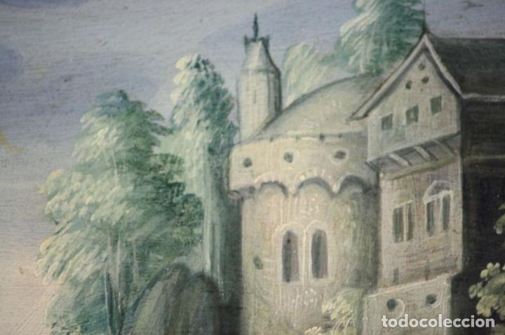 Arte: F2-002 PAISAJE CON CASTILLO. OLEO SOBRE TABLA. ESCUELA HOLANDESA. SIGLO XVII-XVIII - Foto 8 - 43067812
