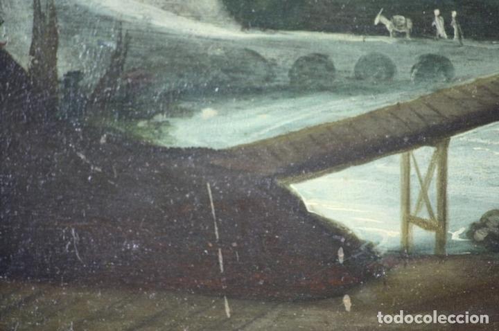Arte: F2-002 PAISAJE CON CASTILLO. OLEO SOBRE TABLA. ESCUELA HOLANDESA. SIGLO XVII-XVIII - Foto 11 - 43067812