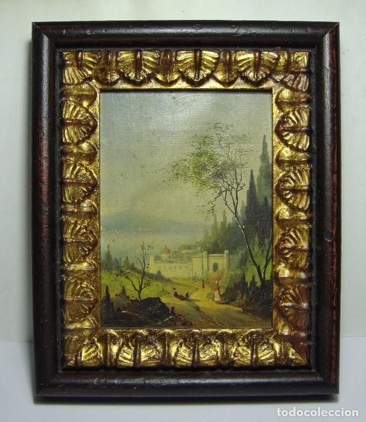 OLEO SOBRE LIENZO. S.XIX. PAISAJE CON CASTILLO Y PERSONAJES. FECHADO EN 1869. (Arte - Pintura - Pintura al Óleo Moderna siglo XIX)