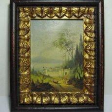 Arte: OLEO SOBRE LIENZO. S.XIX. PAISAJE CON CASTILLO Y PERSONAJES. FECHADO EN 1869.. Lote 64499939
