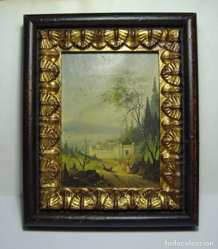 Arte: Oleo sobre lienzo. S.XIX. Paisaje con castillo y personajes. Fechado en 1869. - Foto 2 - 64499939