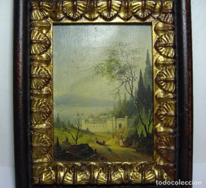 Arte: Oleo sobre lienzo. S.XIX. Paisaje con castillo y personajes. Fechado en 1869. - Foto 3 - 64499939
