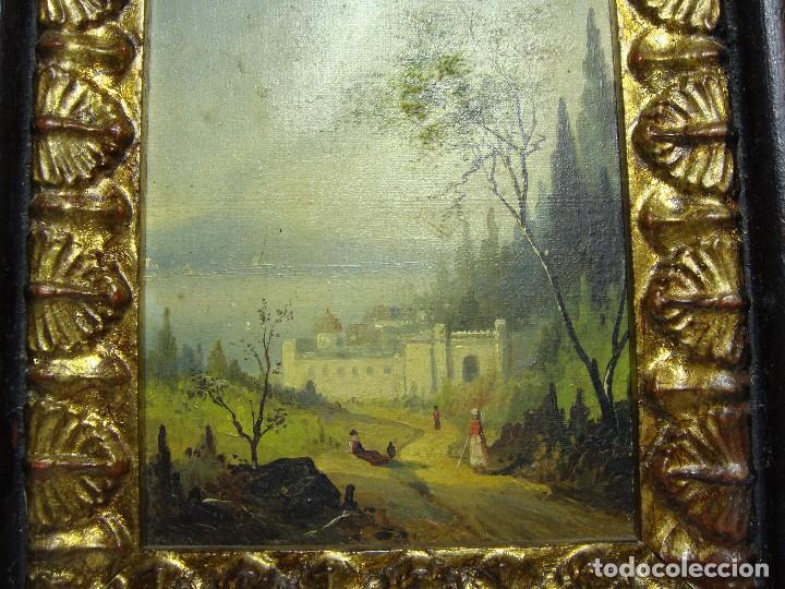 Arte: Oleo sobre lienzo. S.XIX. Paisaje con castillo y personajes. Fechado en 1869. - Foto 4 - 64499939