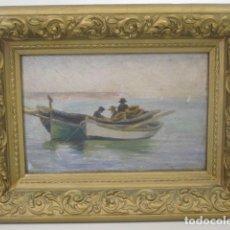 Arte: MALLORCA, OLEO SOBRE TABLA. VISTA DE PESCADORES FAENANDO EN LLAÜTS. Lote 64598399