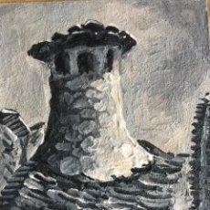Arte: OLEO SOBRE TABLA DE CHIMENEA TÍPICA DEL PIRINEO ARAGONÉS, BERNUES CASA BERNABÉ R LOBATO. Lote 64938431