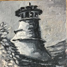 Arte: OLEO SOBRE TABLA CHIMENEA DE CASA LUCAS, BERNUES PIRINEO ARAGONÉS FIRMADO R LOBATO. Lote 64941403