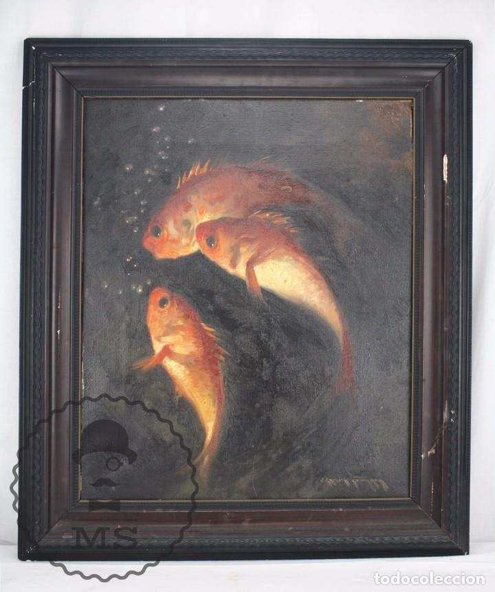 PINTURA AL ÓLEO SOBRE LIENZO DE JULIO GARCÍA GUTIÉRREZ - PECES NARANJAS / DORADOS - 67 X 78 CM (Arte - Pintura - Pintura al Óleo Contemporánea )