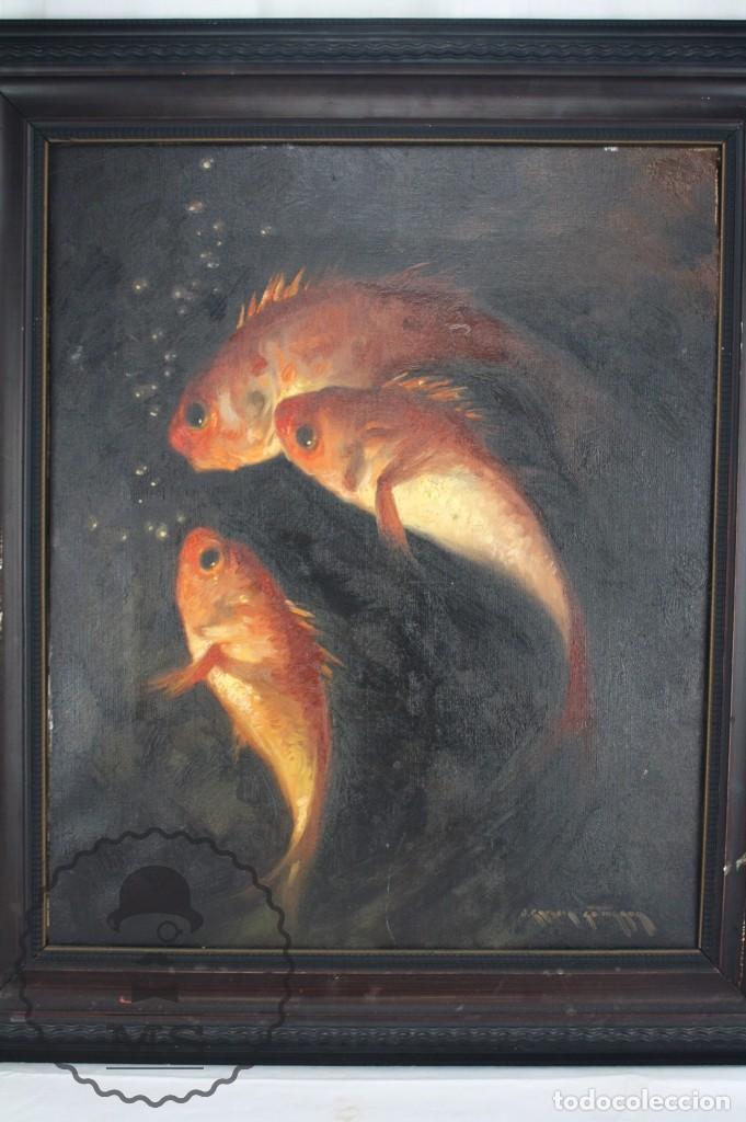 Arte: Pintura al Óleo Sobre Lienzo de Julio García Gutiérrez - Peces Naranjas / Dorados - 67 x 78 cm - Foto 2 - 65051671