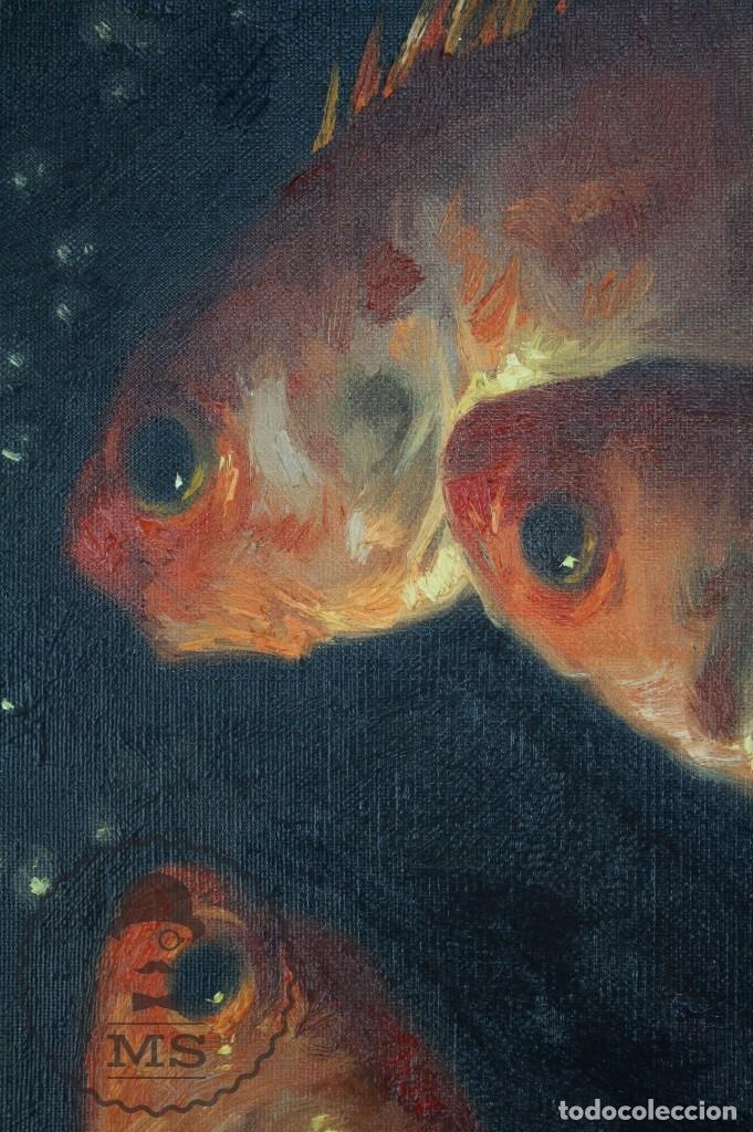 Arte: Pintura al Óleo Sobre Lienzo de Julio García Gutiérrez - Peces Naranjas / Dorados - 67 x 78 cm - Foto 3 - 65051671