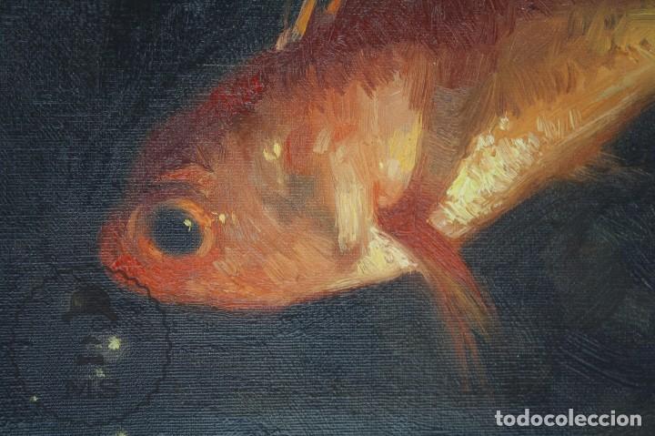 Arte: Pintura al Óleo Sobre Lienzo de Julio García Gutiérrez - Peces Naranjas / Dorados - 67 x 78 cm - Foto 4 - 65051671
