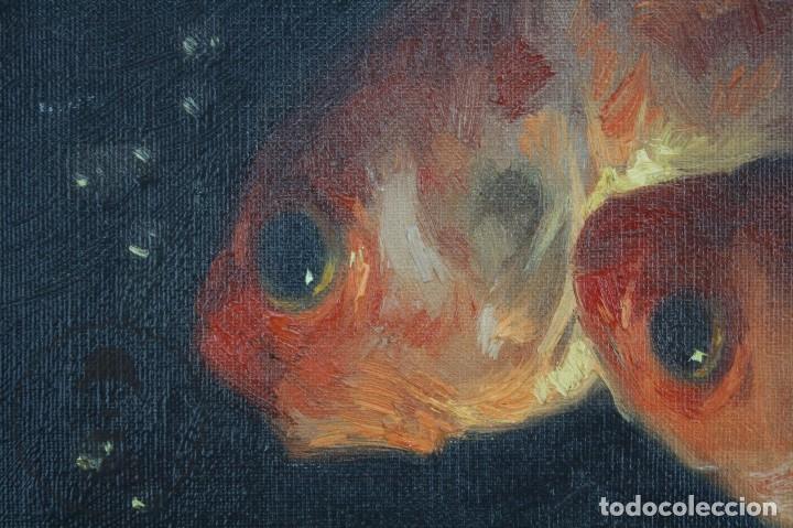 Arte: Pintura al Óleo Sobre Lienzo de Julio García Gutiérrez - Peces Naranjas / Dorados - 67 x 78 cm - Foto 9 - 65051671