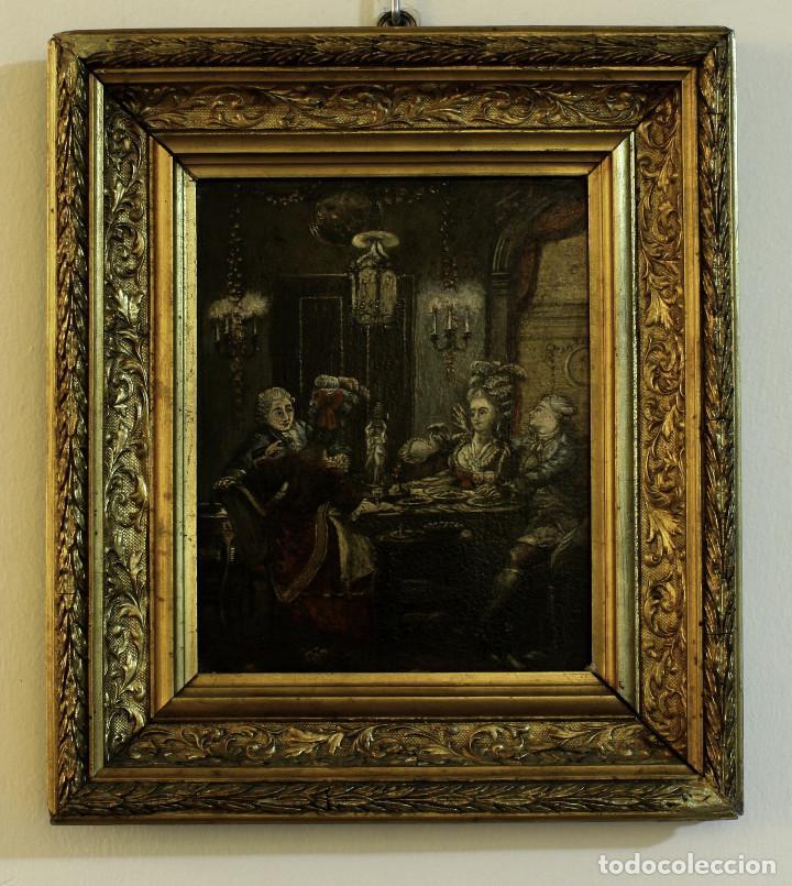 ESCENA CORTESANA. S.XVIII. ÓLEO SOBRE TABLA DE CAOBA (Arte - Pintura - Pintura al Óleo Antigua siglo XVIII)