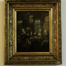 Arte: ESCENA CORTESANA. S.XVIII. ÓLEO SOBRE TABLA DE CAOBA. Lote 65803654