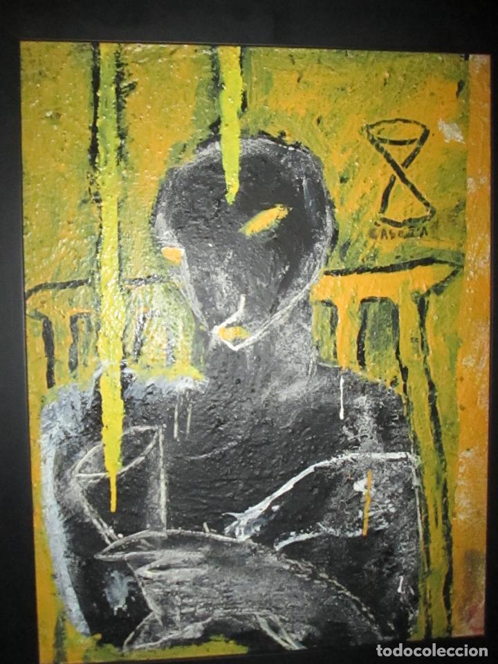 ANTIGUO CUADRO+MARCO+ÓLEO-JORGE CABEZAS-ANIMAL DE DISCO BAR-1994-69X55-59X45 CMS-MARCO NEGRO-PERF (Arte - Pintura - Pintura al Óleo Contemporánea )