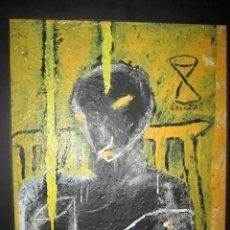 Arte: CUADRO+MARCO+ÓLEO-JORGE CABEZAS-ANIMAL DE DISCO BAR-1994-69X55-59X45 CMS-MARCO NEGRO-CALIDAD-PER. Lote 65998530
