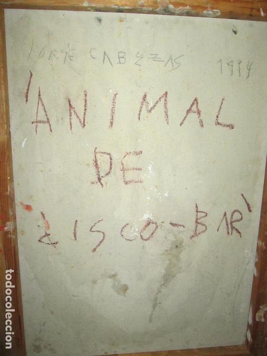 Arte: ANTIGUO CUADRO+MARCO+ÓLEO-JORGE CABEZAS-ANIMAL DE DISCO BAR-1994-69x55-59x45 cms-MARCO NEGRO-PERF - Foto 3 - 65998530