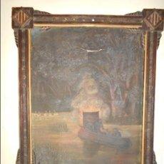 Arte: OLEO SOBRE LIENZO FIRMADO AÑO 1896 S-XIX ENMARCADO ESCENA NOCTURNA. Lote 66068418