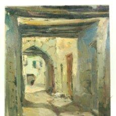 Arte: JOAQUIN ASENSIO (1890-1961) CALLE DE PUEBLO, ÓLEO SOBRE TABLA 28X36 CM.. Lote 66190270