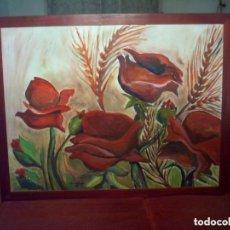 Arte: PRECIOSO CUADRO DE UNA PINTURA AL OLEO DE AMAPOLAS EN EL CAMPO AUTOR LOCAL. Lote 66223062