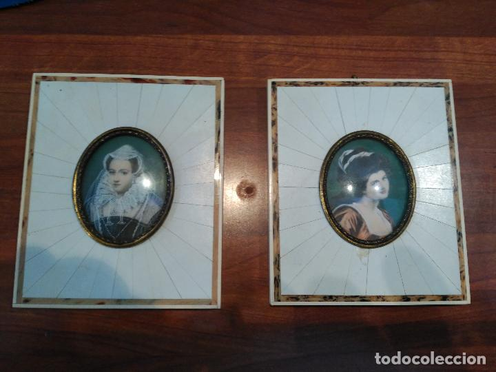 CUADROS ESMALTES POLICROMADOS MARIA ESTUARDO LADY HAMILTON EN MARFIL CADENAS COLGAR ORO SIGLO XVIII (Arte - Pintura - Pintura al Óleo Antigua siglo XVIII)
