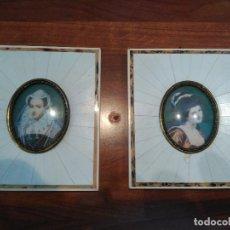 Arte: CUADROS ESMALTES POLICROMADOS MARIA ESTUARDO LADY HAMILTON EN MARFIL CADENAS COLGAR ORO SIGLO XVIII. Lote 66570694