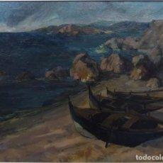 Arte: RAFAEL UBEDA (PONTEVEDRA 1932). BARCAS EN LA PLAYA. . Lote 66898874
