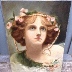 Arte: ACHILLE BELTRAME (1871-1945) PINTOR ITALIANO - ÓLEO SOBRE TELA PEGADA A CARTÓN - RETRATO DE DAMA. Lote 67201837