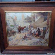 Arte: MANUEL MENSA SALAS (1875-1938) PINTOR ESPAÑOL - ÓLEO SOBRE TELA - CARAVANA. Lote 67208441